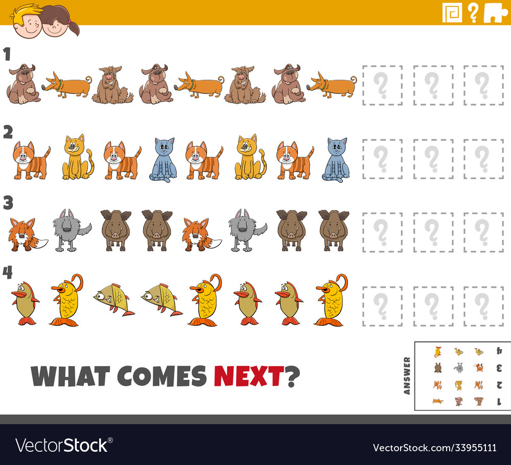 Educational pattern task for kids with cartoon