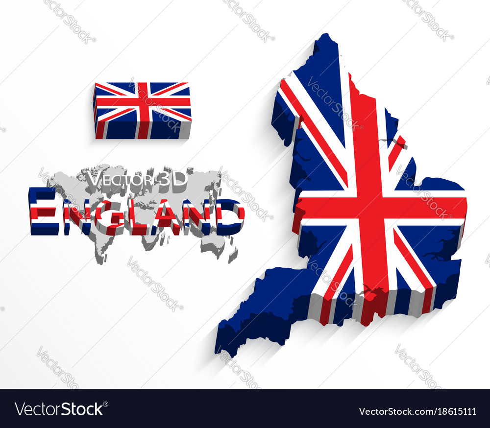 England 3d flag and map