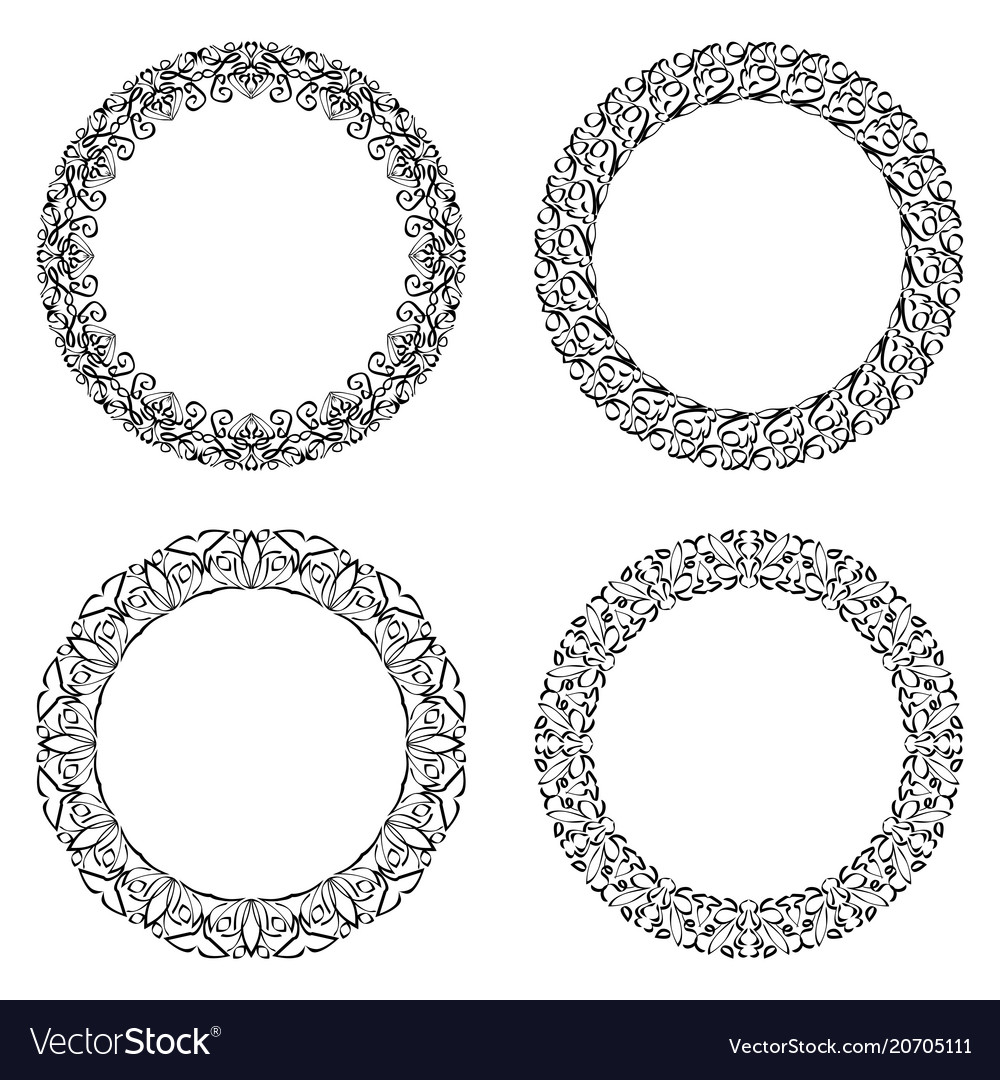 Filigree round frame calligraphic circle lace