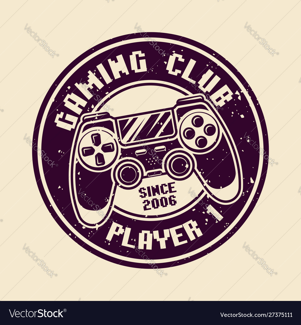Gaming round badge with console gamepad