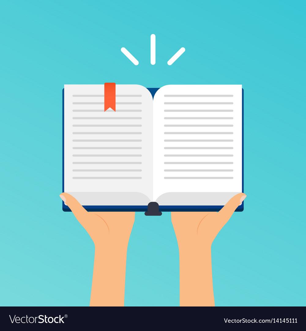 Hands holding an open book flat design modern