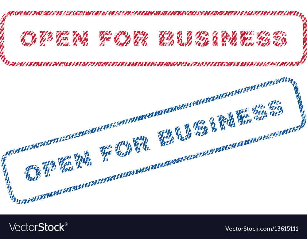 Open for business textile stamps