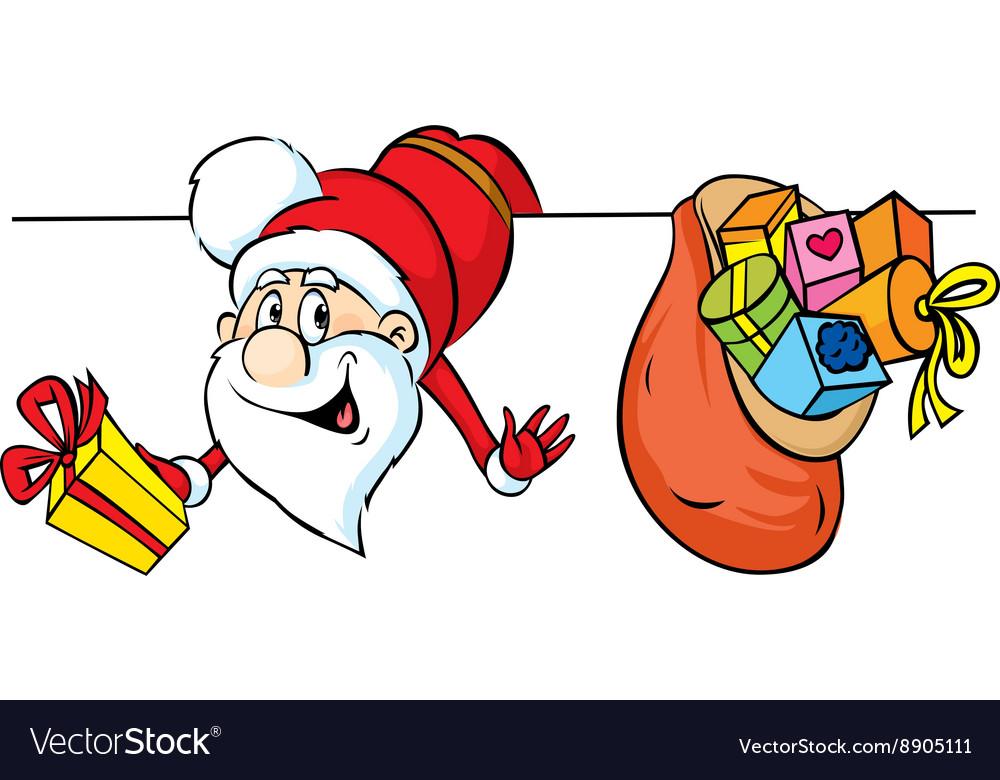 Santa peeking around white areas and holding gifts