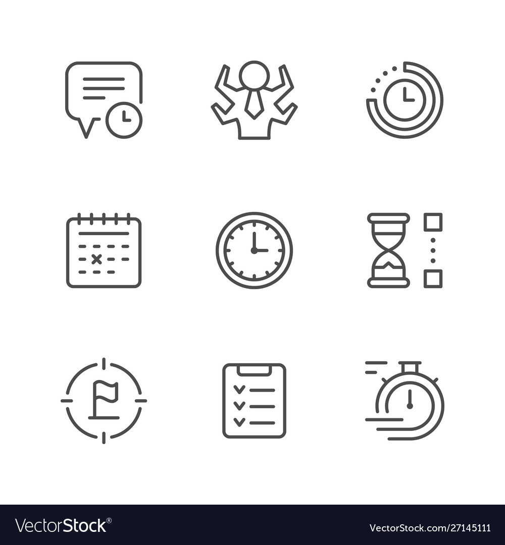 Set line icons time management