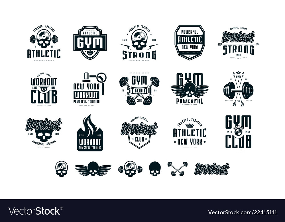 Set of emblems and logo for gym workout athletic