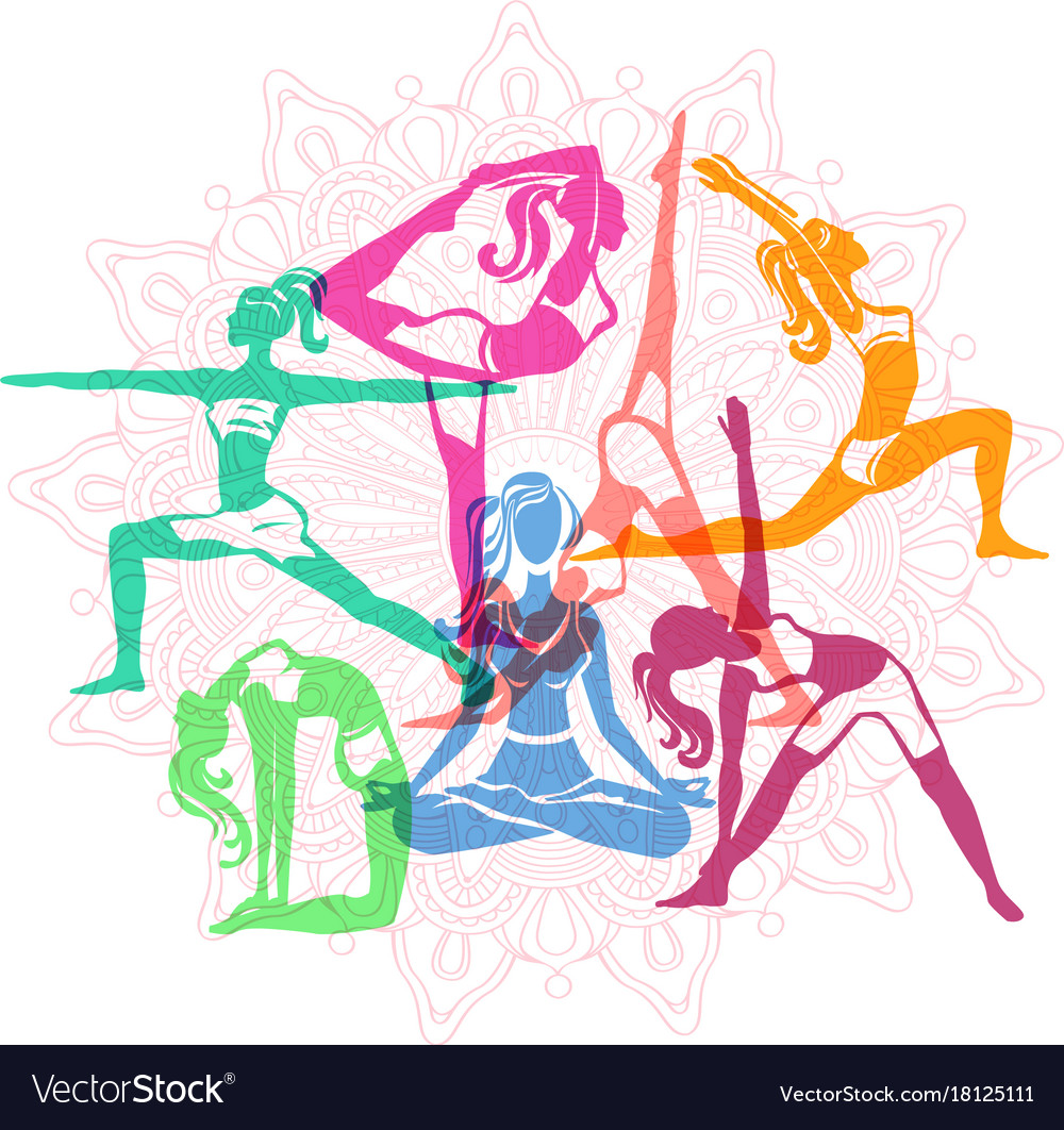 Set of girls in yoga poses