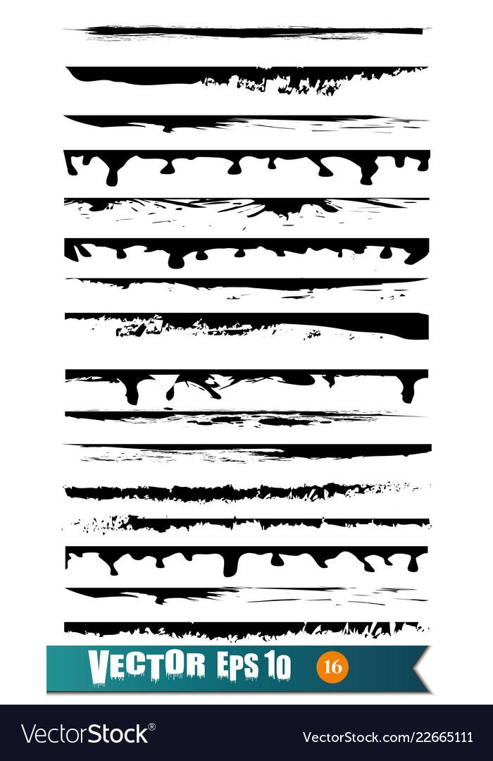 Set of hand drawn grunge brush lines