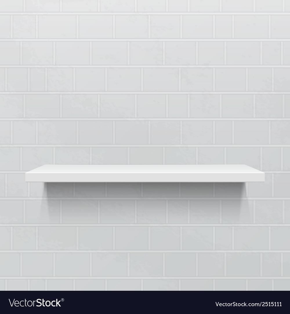White realistic shelf against brick wall