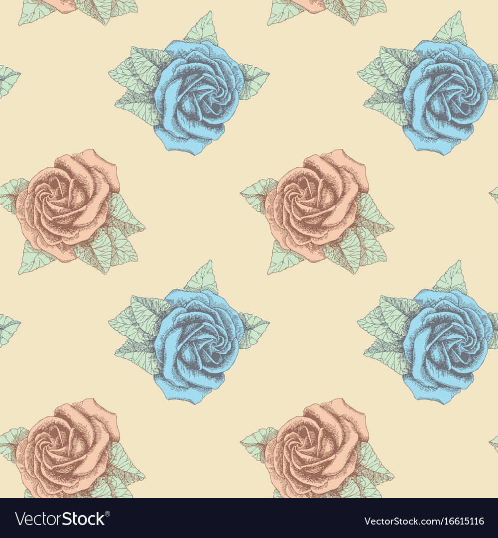 Blue and pink roses seamless hand drawn