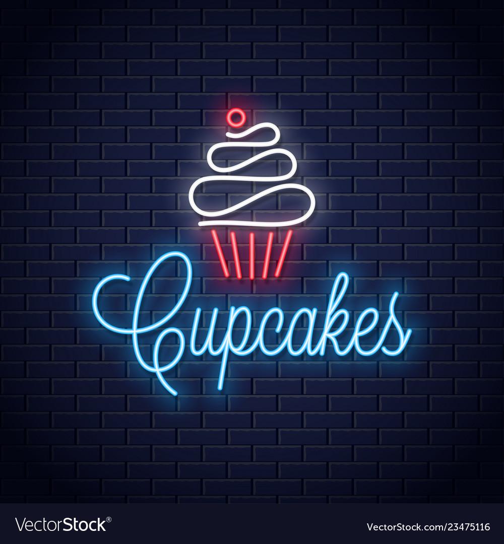 Cupcake neon logo on wall background