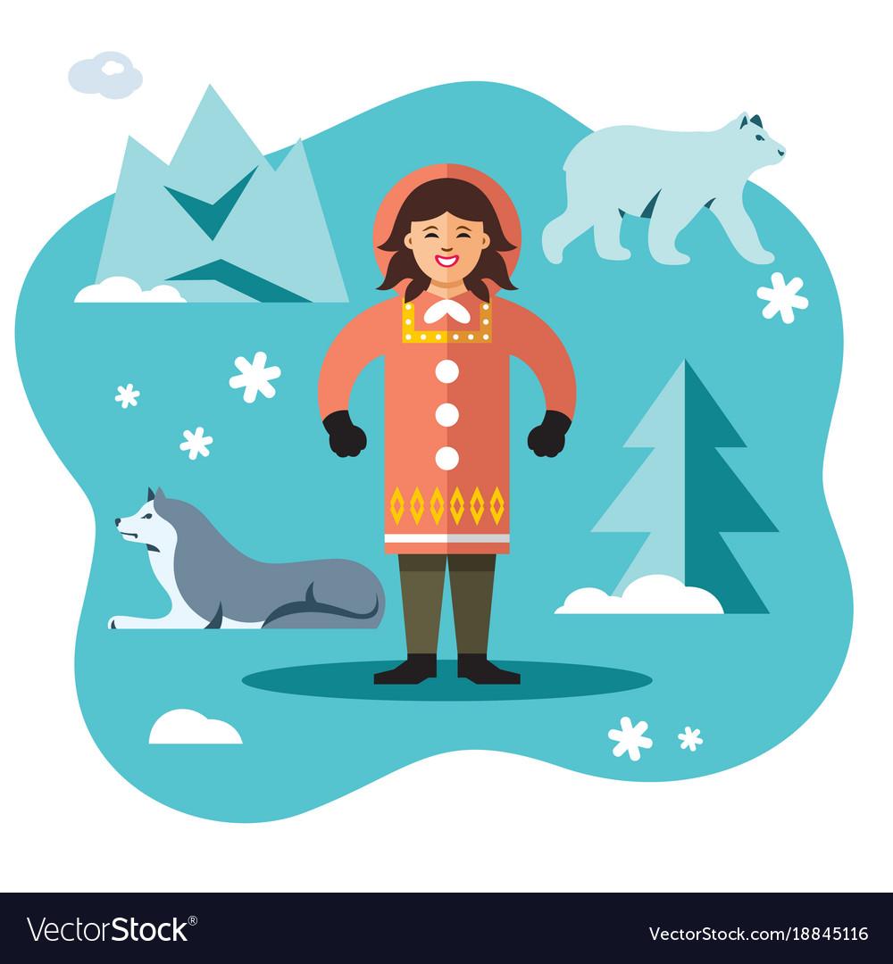 Eskimo flat style colorful cartoon