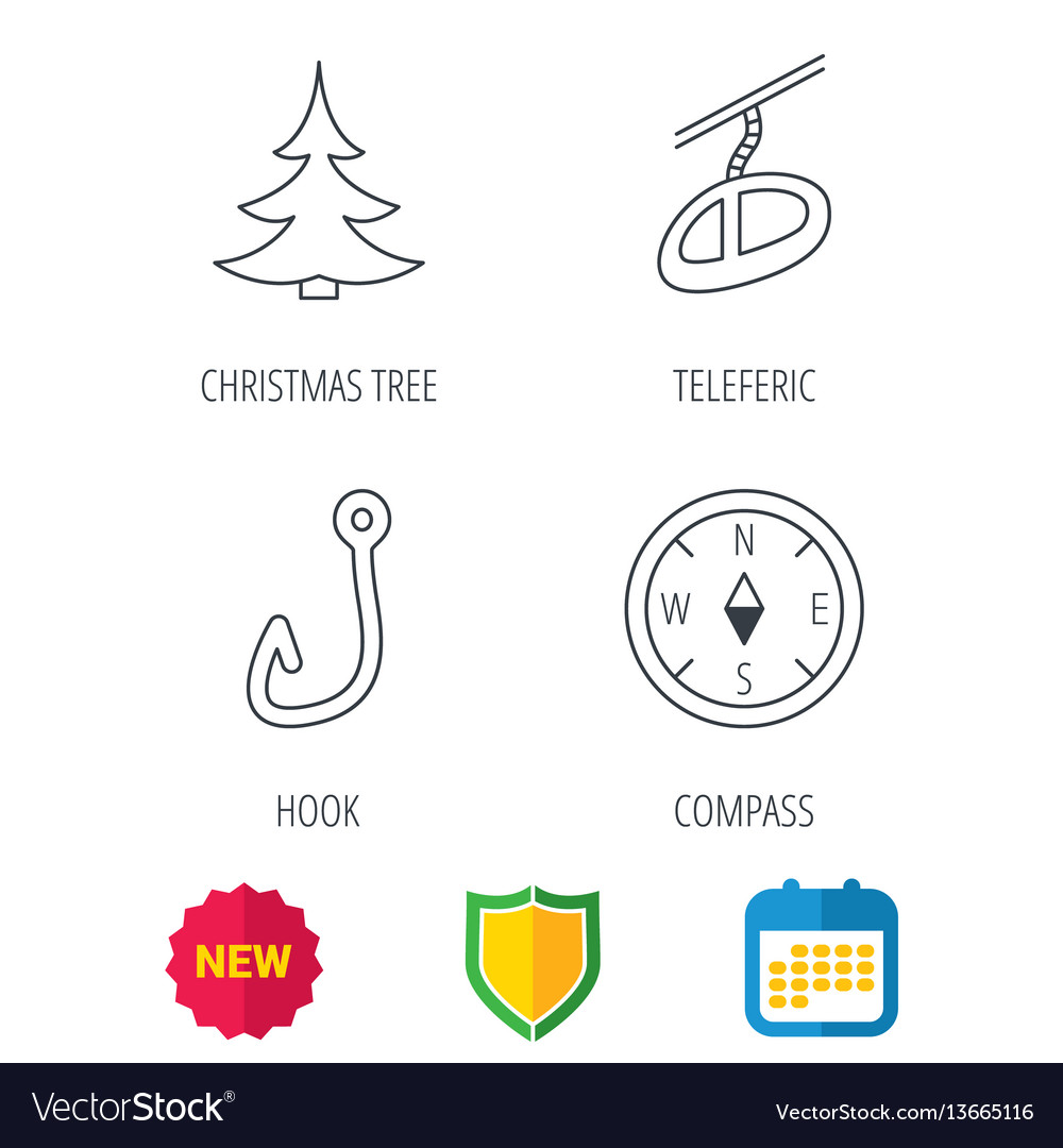 Fishing hook teleferic and compass icons