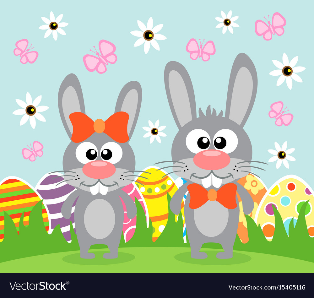 Holiday easter background card with funny rabbits