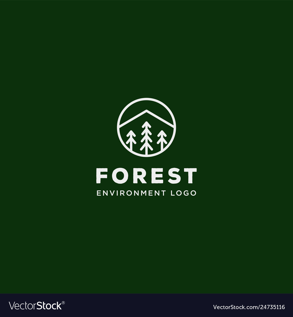 Mountain forest nature badge line simple logo