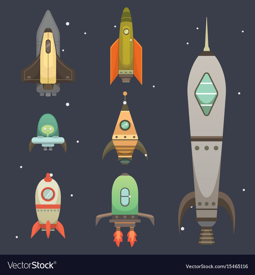 Rocket ship in cartoon style new businesses