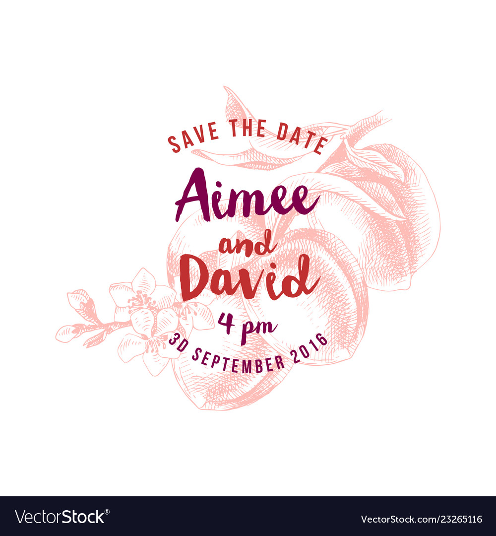Save the date concept over hand drawn peach branch