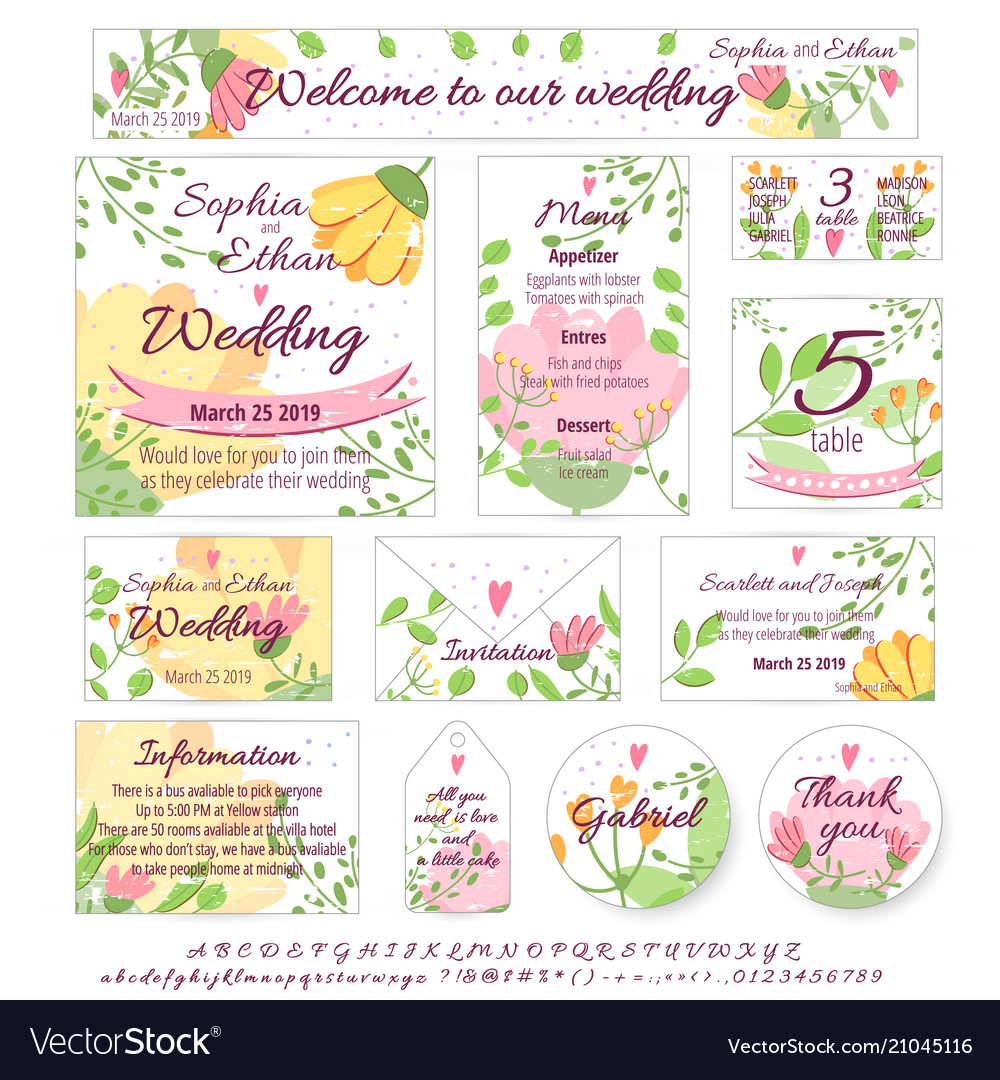 Wedding Design Invitation Menu Card Poster Vector Image