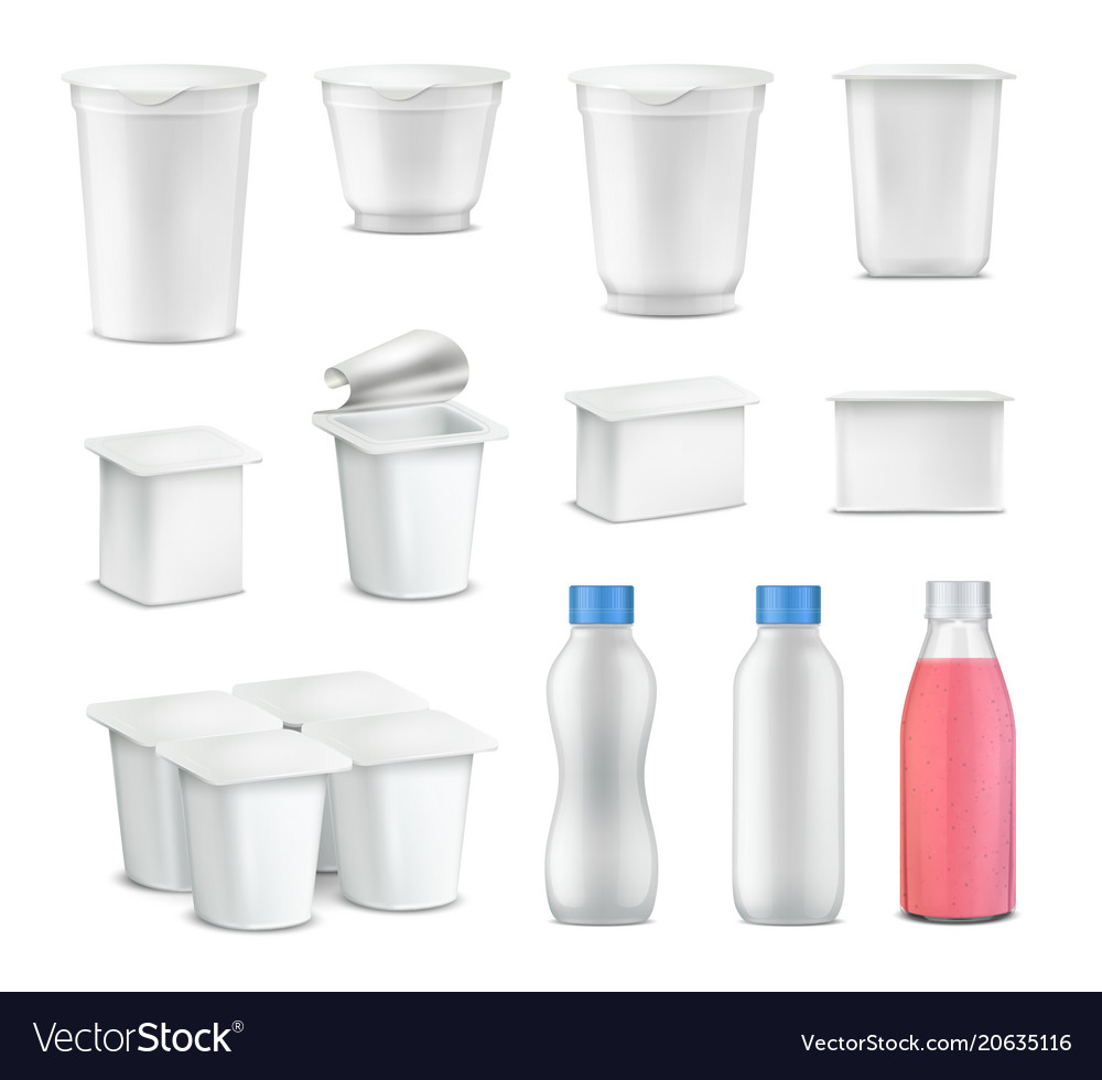 Yogurt package realistic set vector image