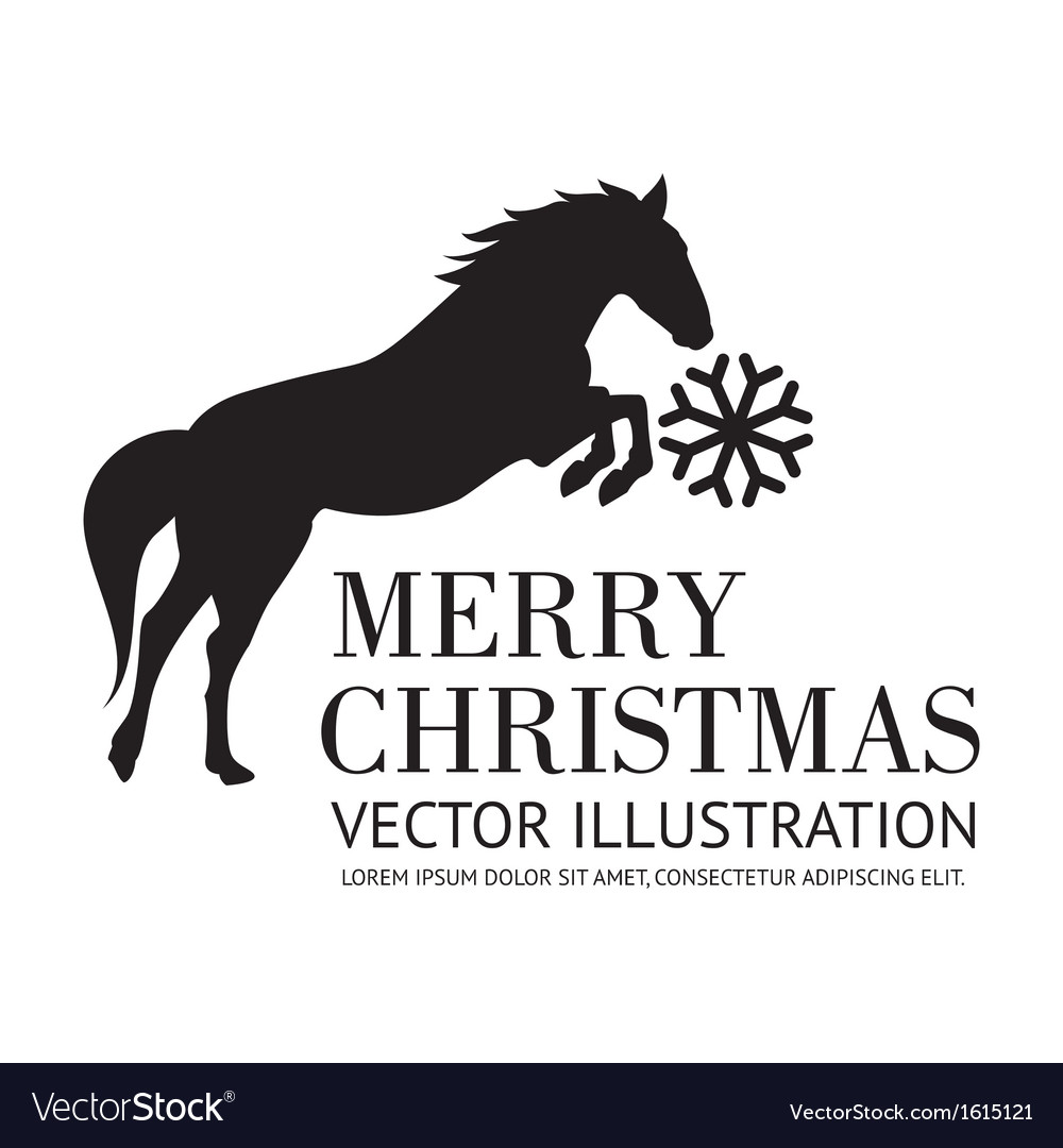 Black horse christmas background vector image