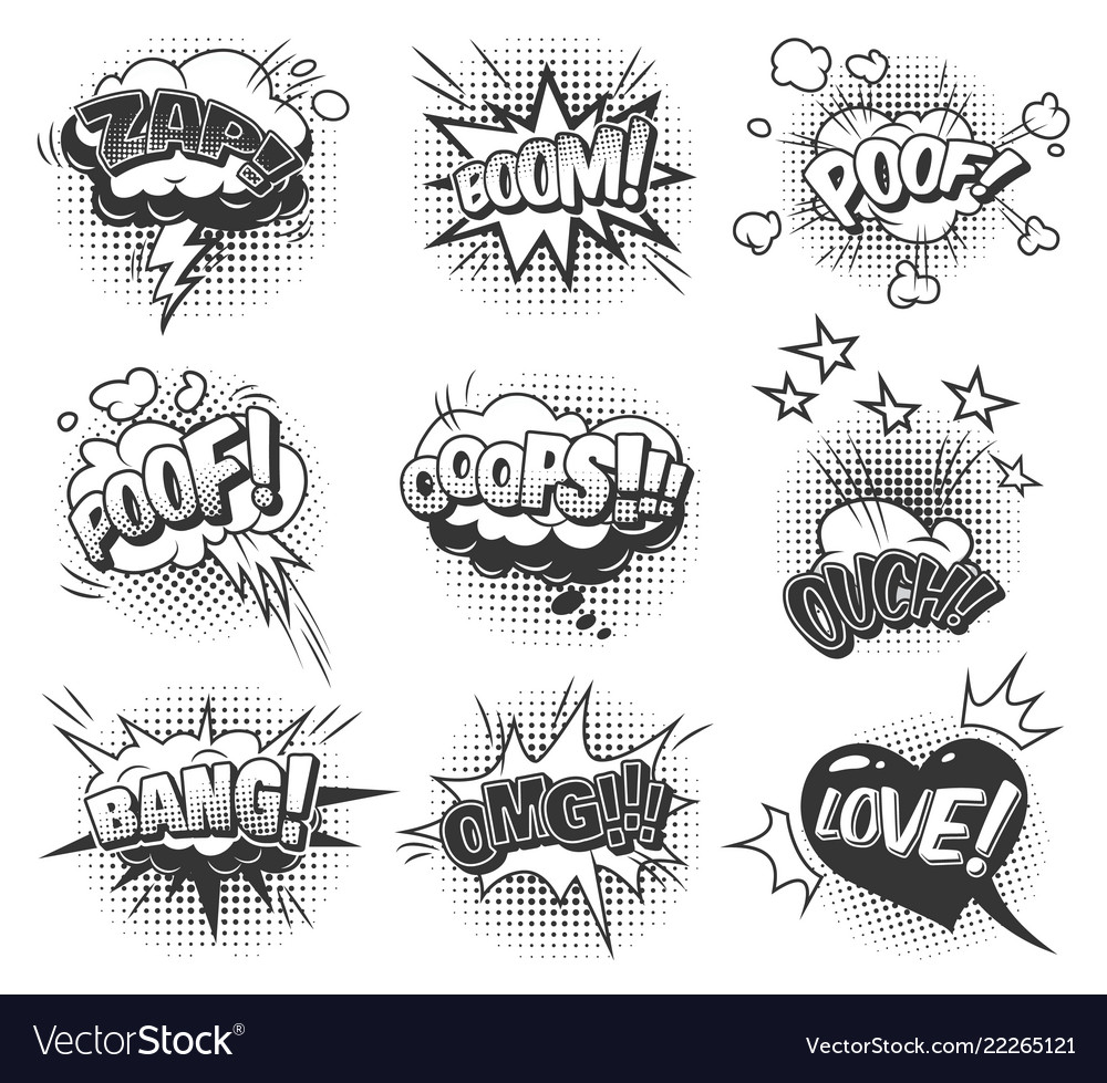 Comic speech bubbles dynamic set