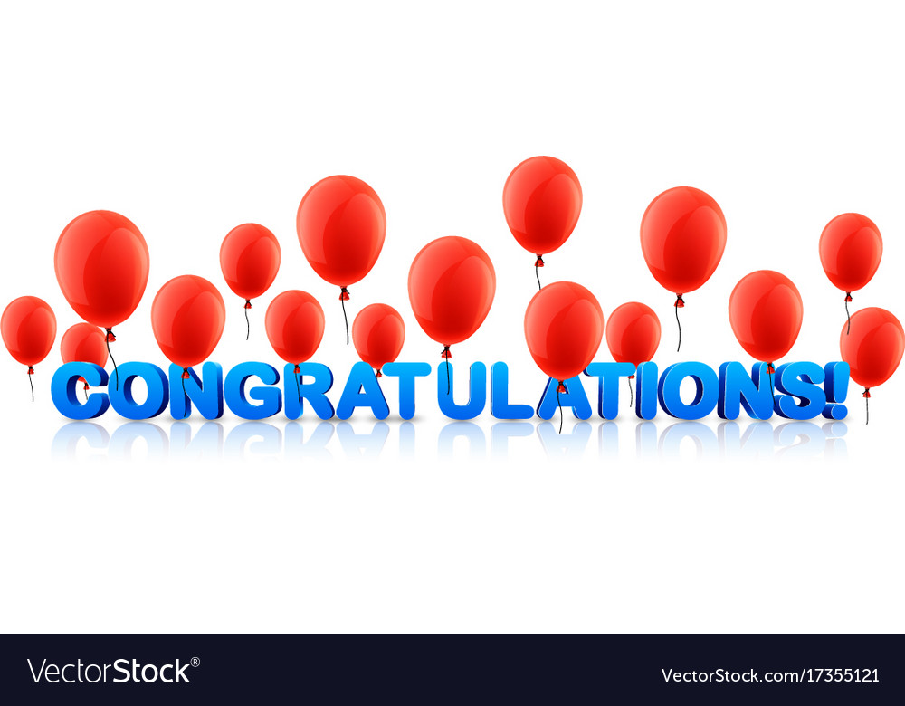 Congratulations Banner With Red Balloons Vector Image