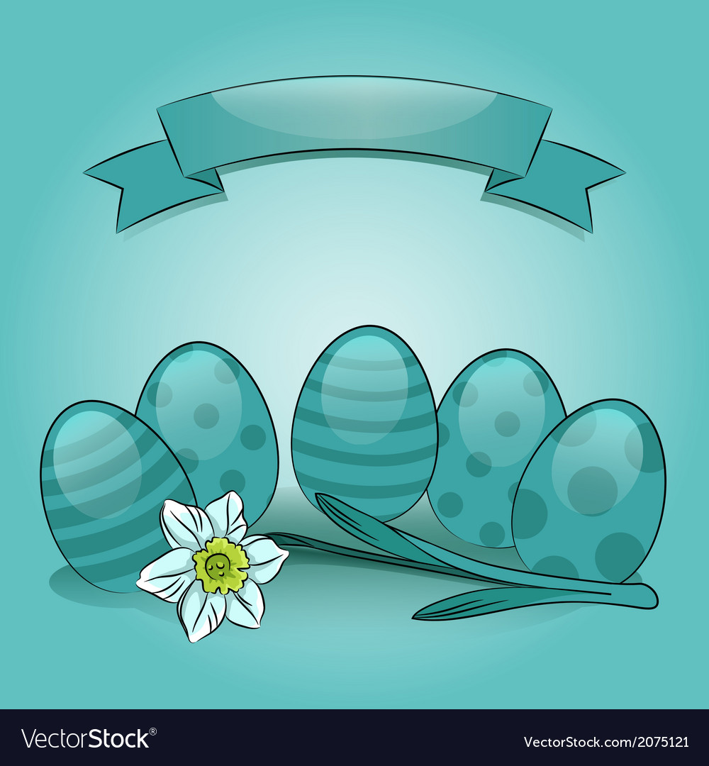 Easter eggs with daffodil and banner