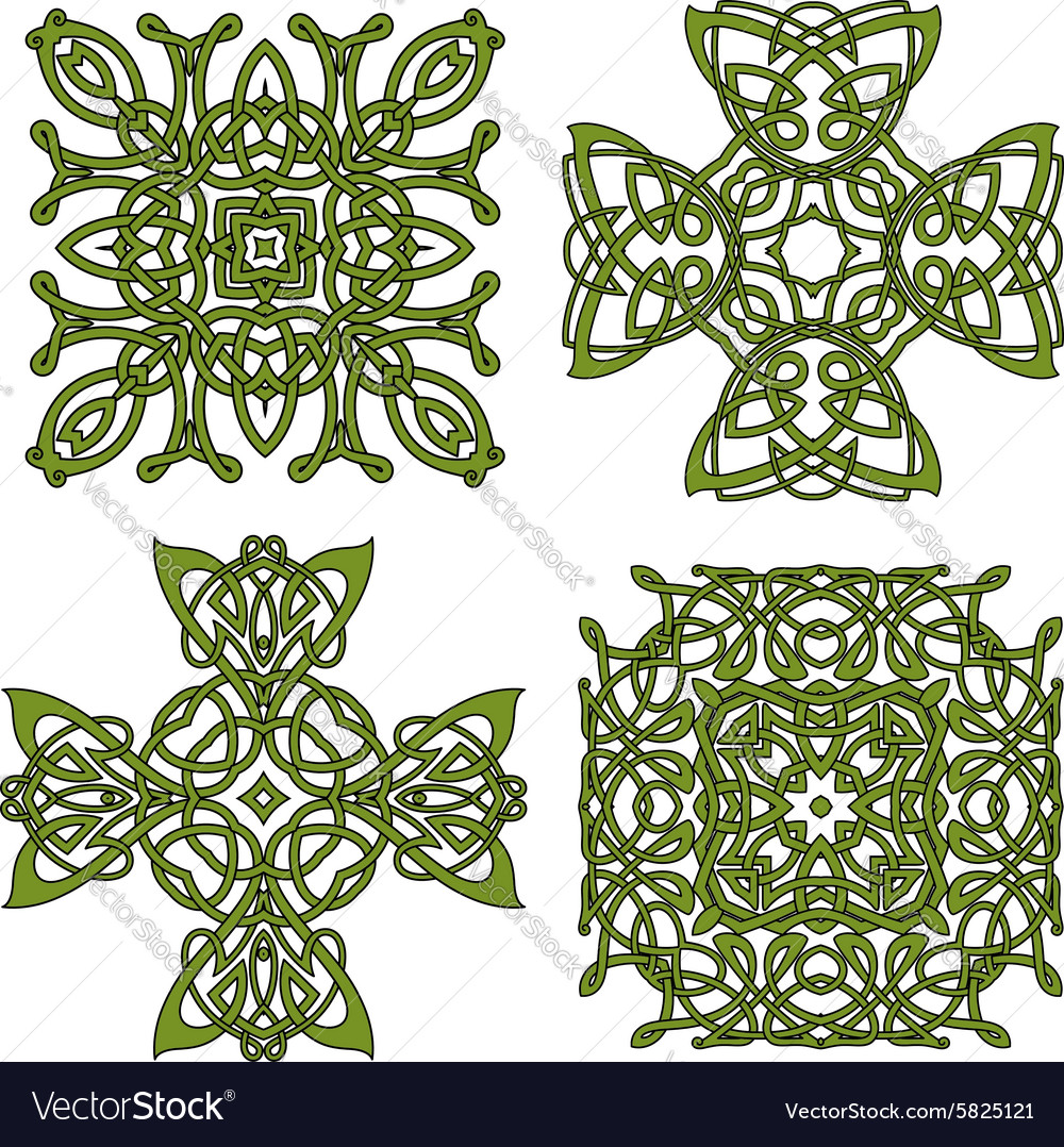 Green isolated celtic and irish crosses