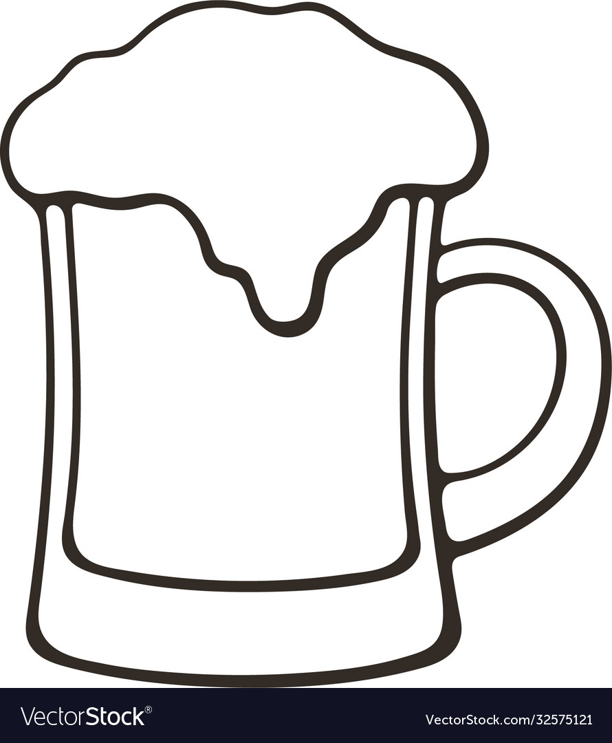 Hand Drawn Doodle A Mug Beer With Foam Royalty Free Vector