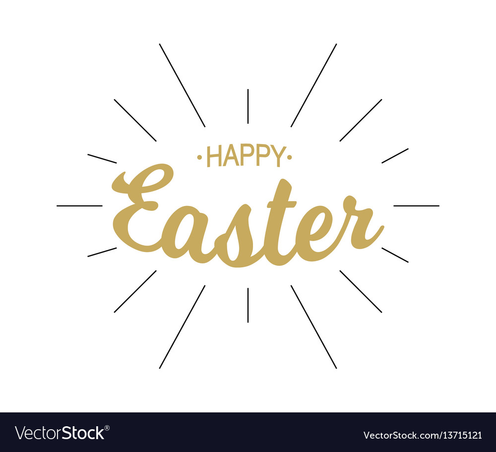 Happy easter gold lettering with black rays