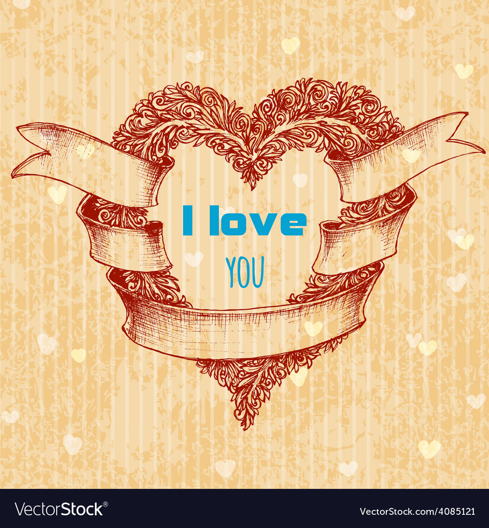 I love you typing over heart wreath Valentines Day vector image