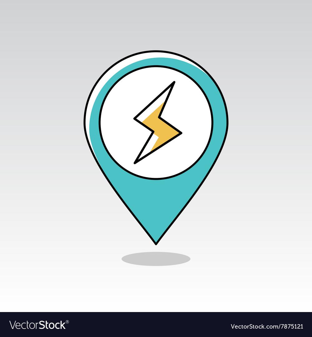 Lightning pin map icon Meteorology Weather vector image