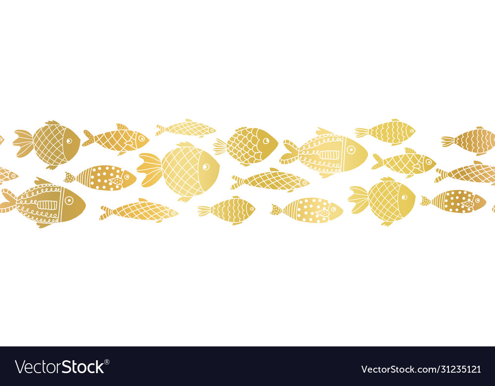 Metallic gold foil fishes seamless border