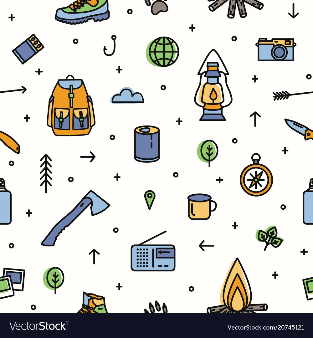 Modern seamless pattern with hiking and touristic