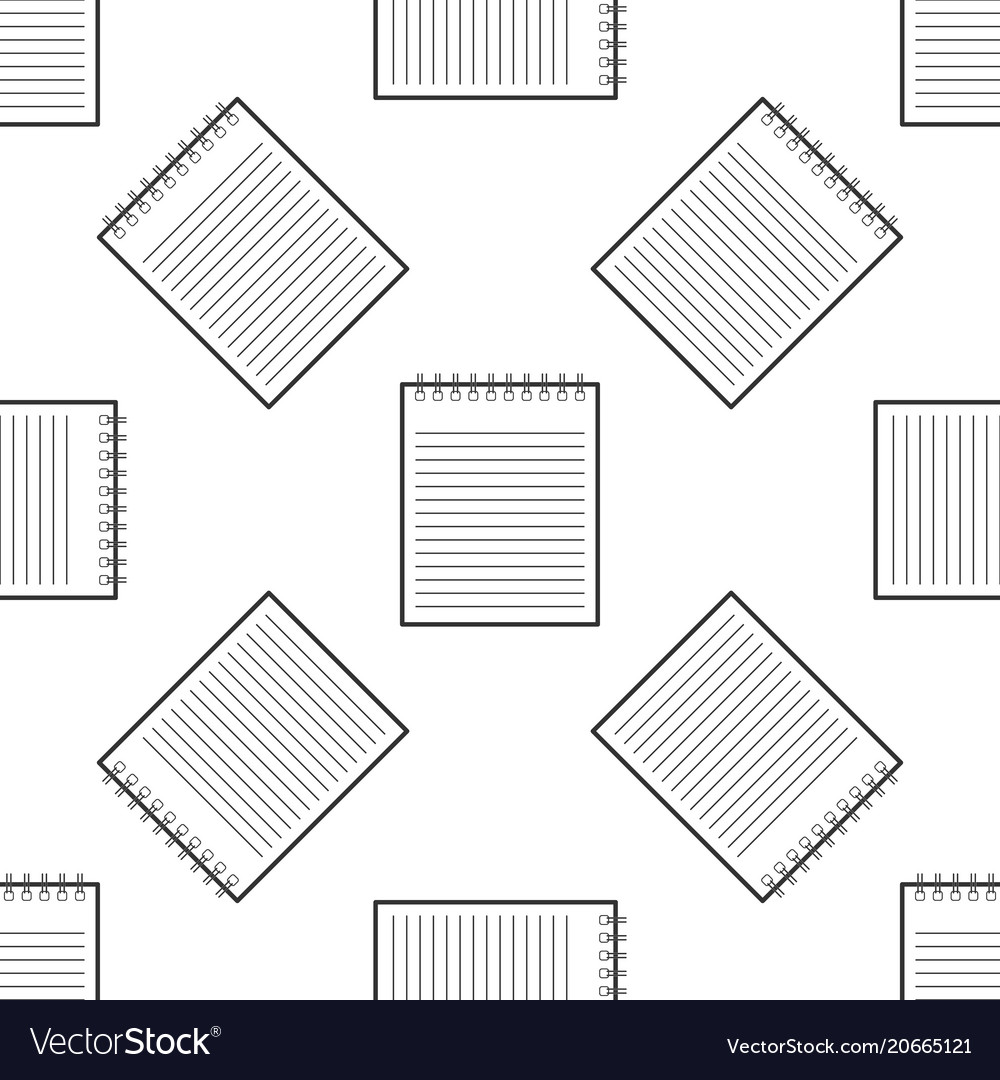 Notebook icon seamless pattern on white background