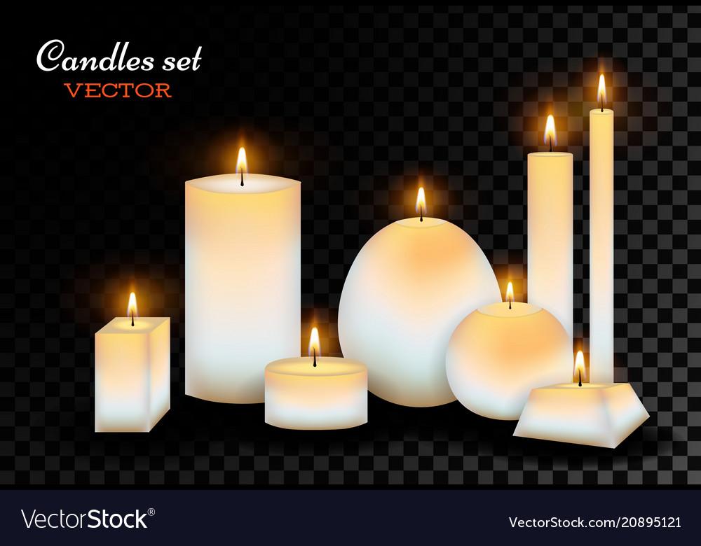 Realistic wax candles set