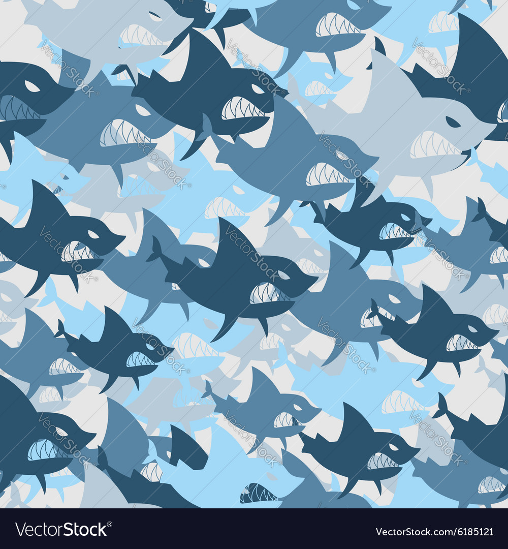 Shark military seamless pattern Army background of
