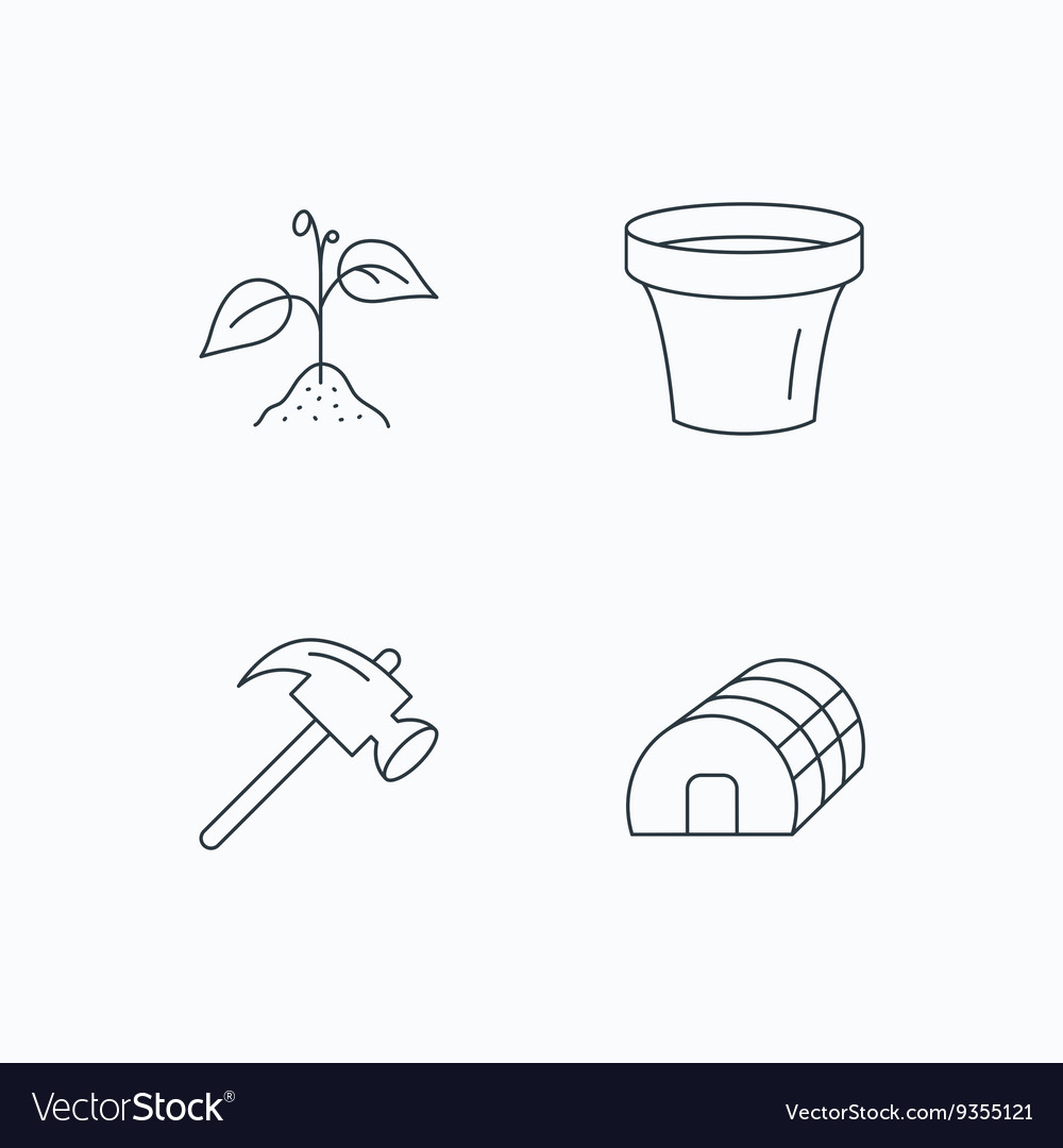 Sprout plant hammer and pot icons