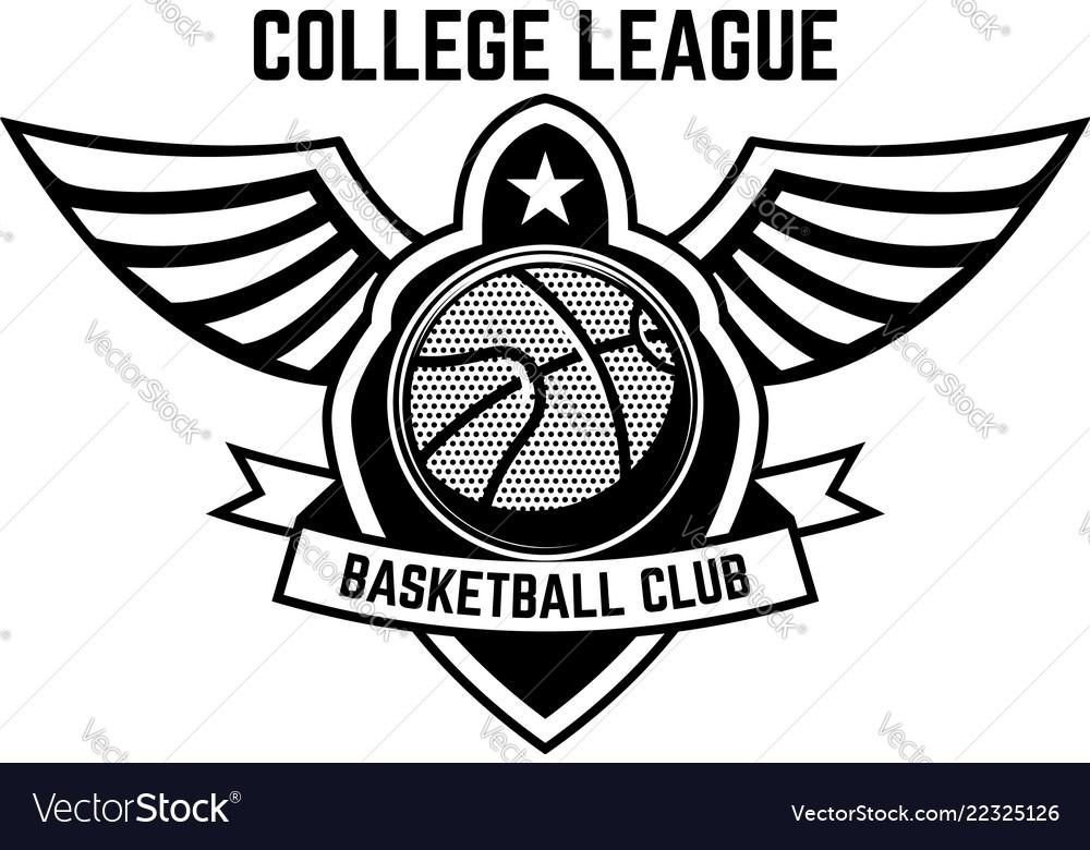 Basketball sport emblem with wings design element