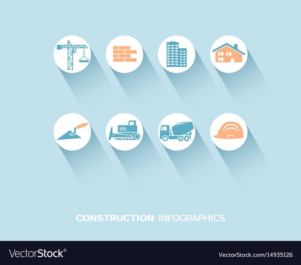 Construction infographic with flat icons
