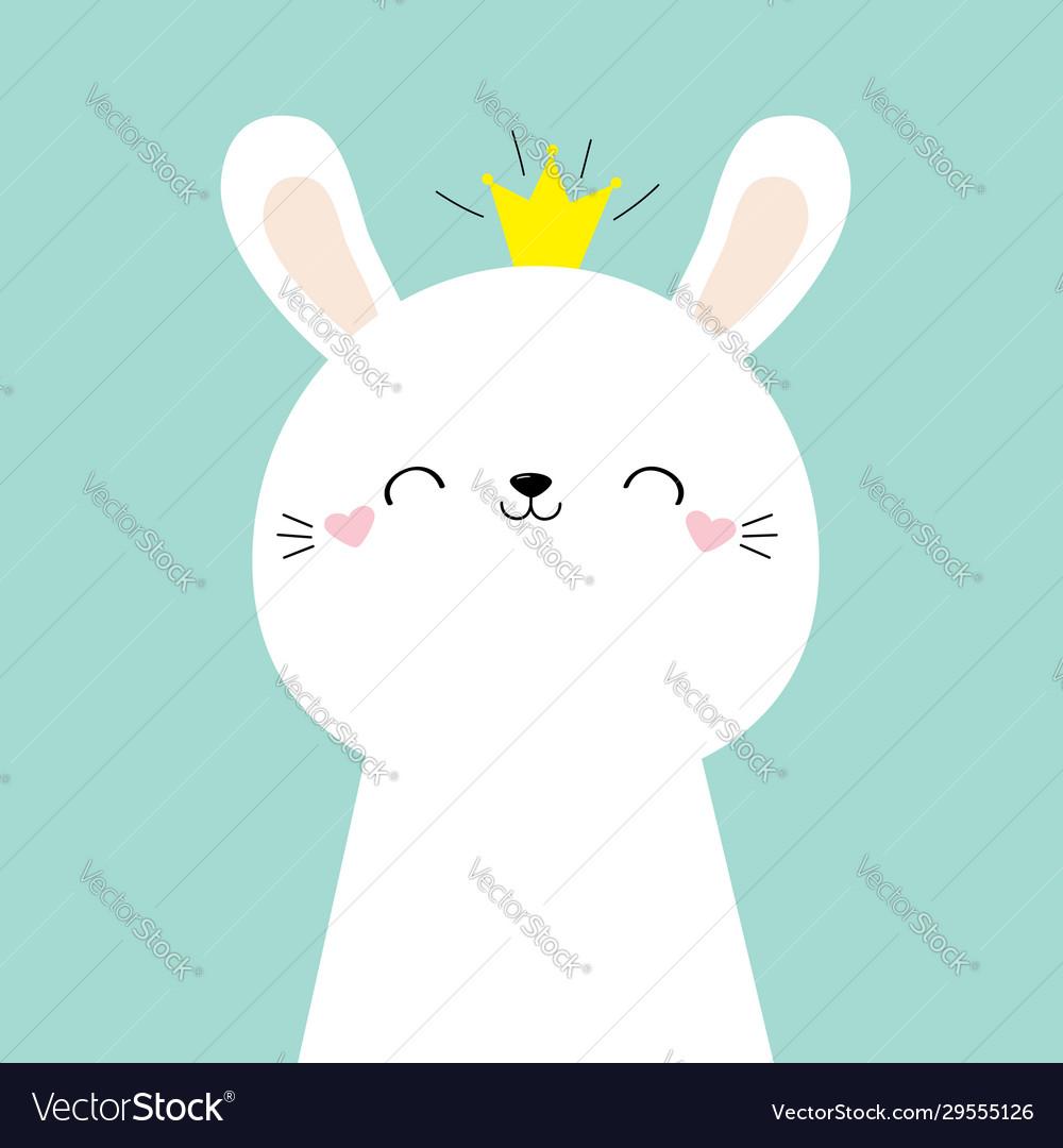 Cute bunny rabbit face head icon kawaii hare