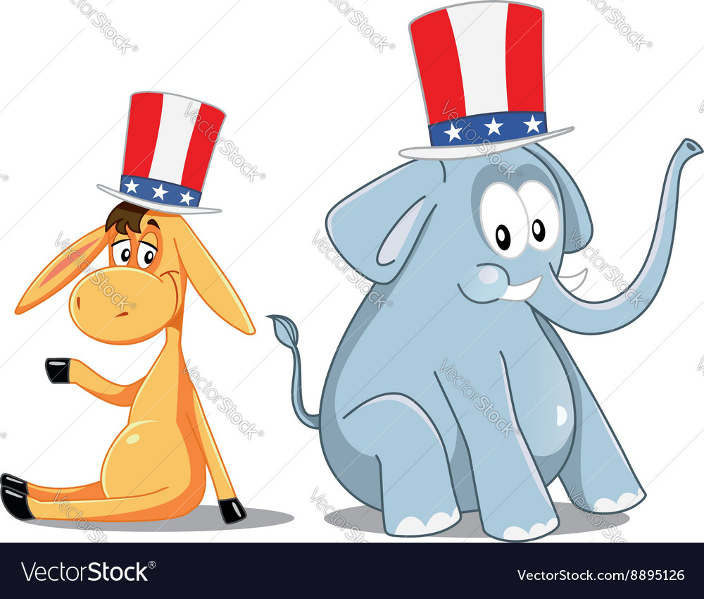 Democrat Donkey and Republican Elephant Election