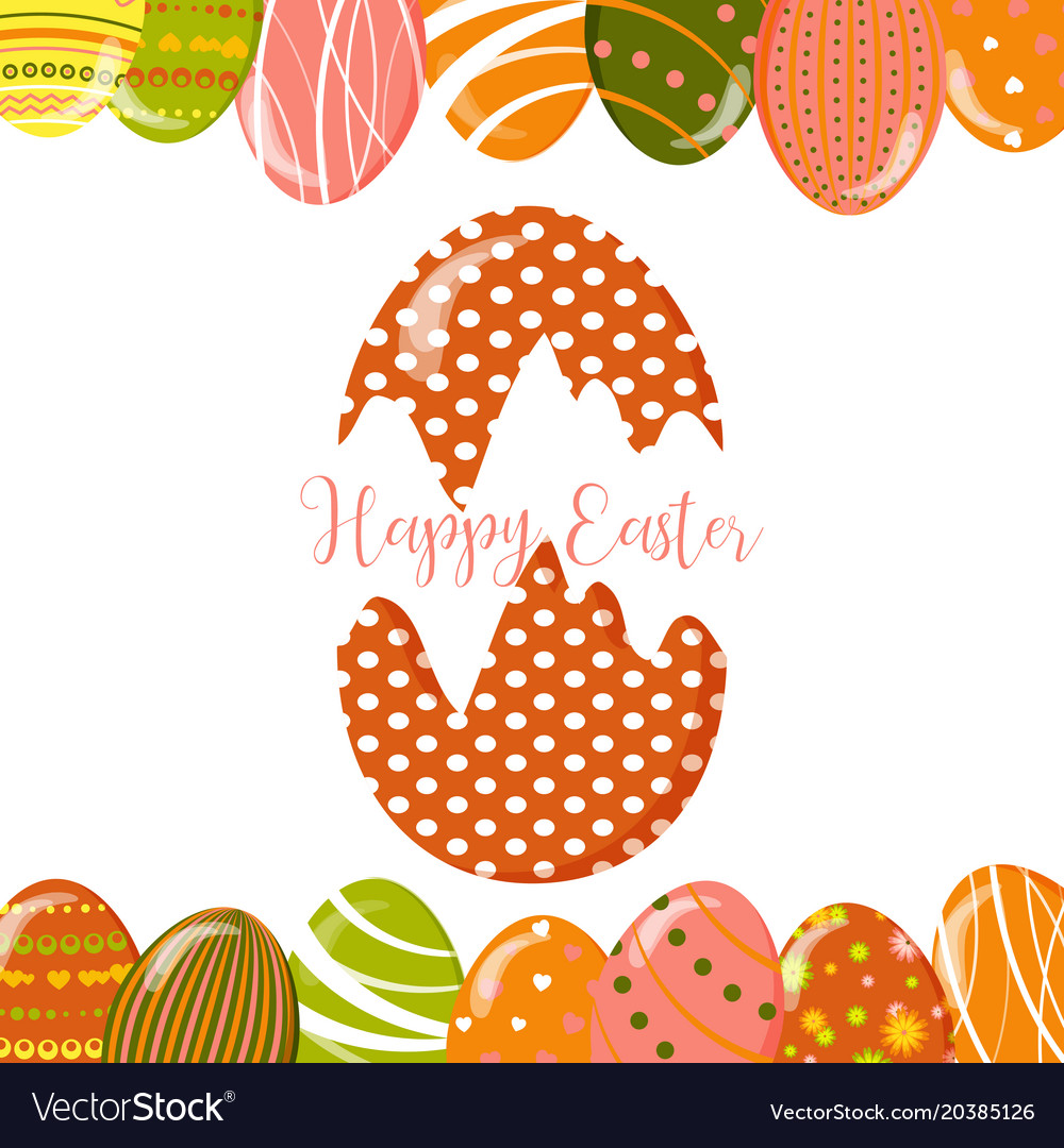 Greeting Cards With Cute Easter Eggs Royalty Free Vector
