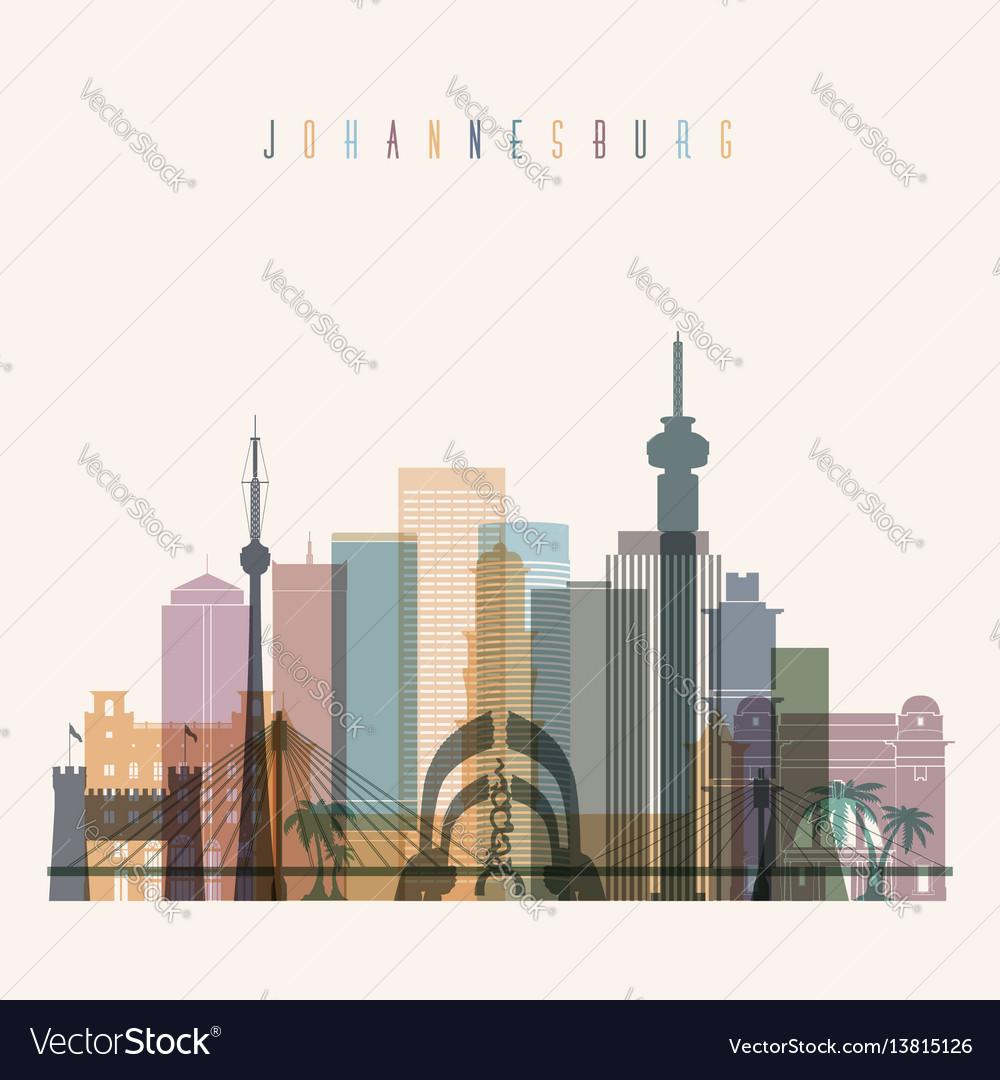 Johannesburg skyline detailed silhouette vector image altavistaventures Images