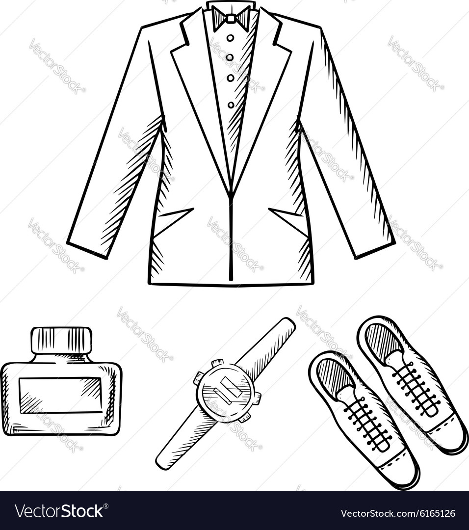 Male formal outfit with jacket shoes watch