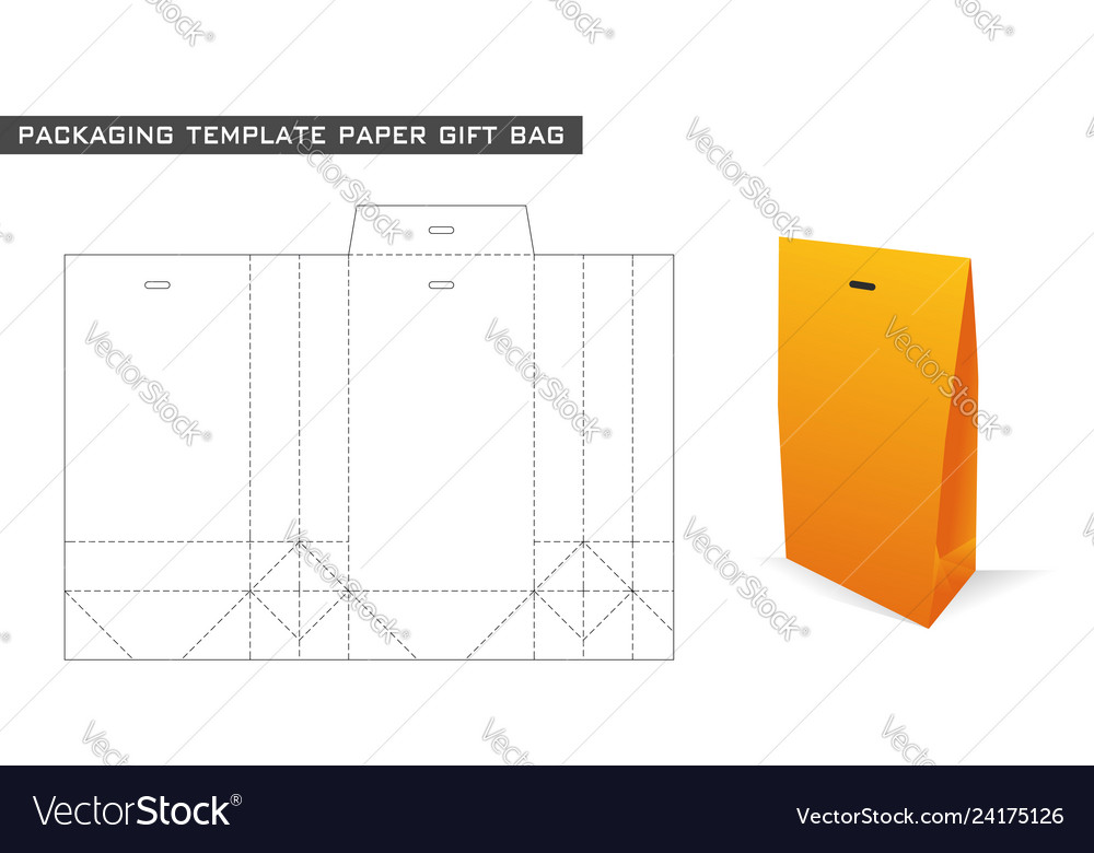 Packaging template paper gift bag
