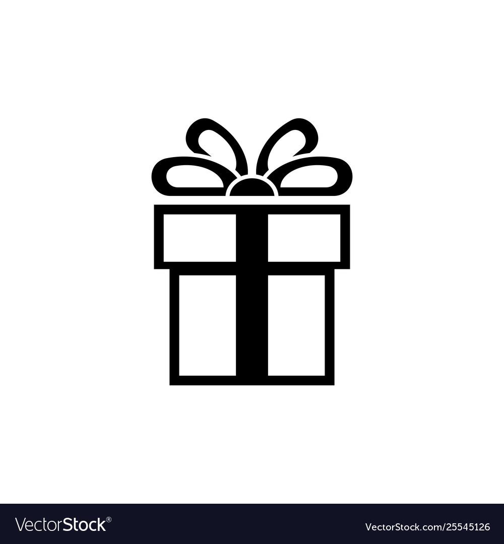 Present gift box flat icon