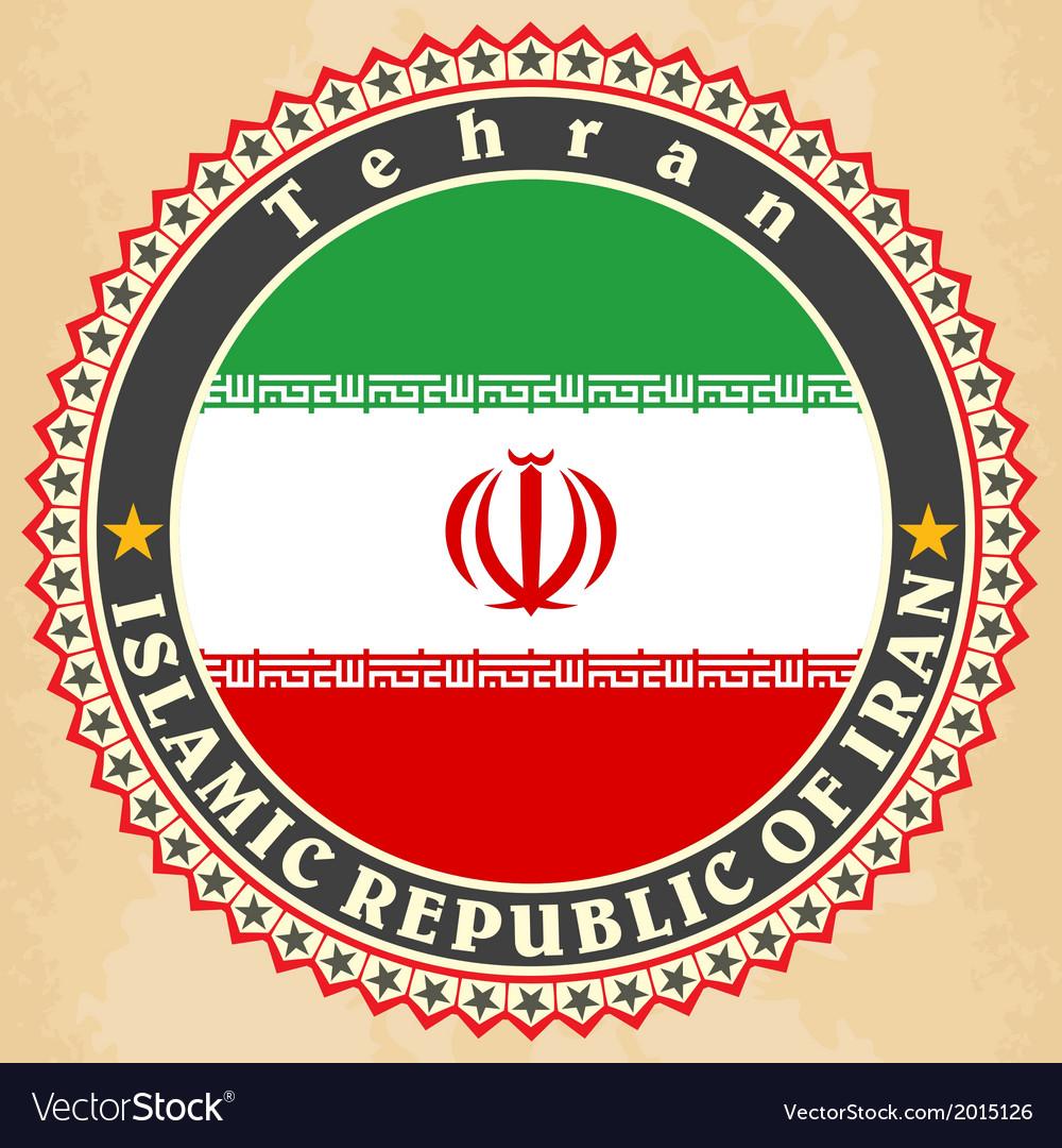 Vintage label cards of Iran flag