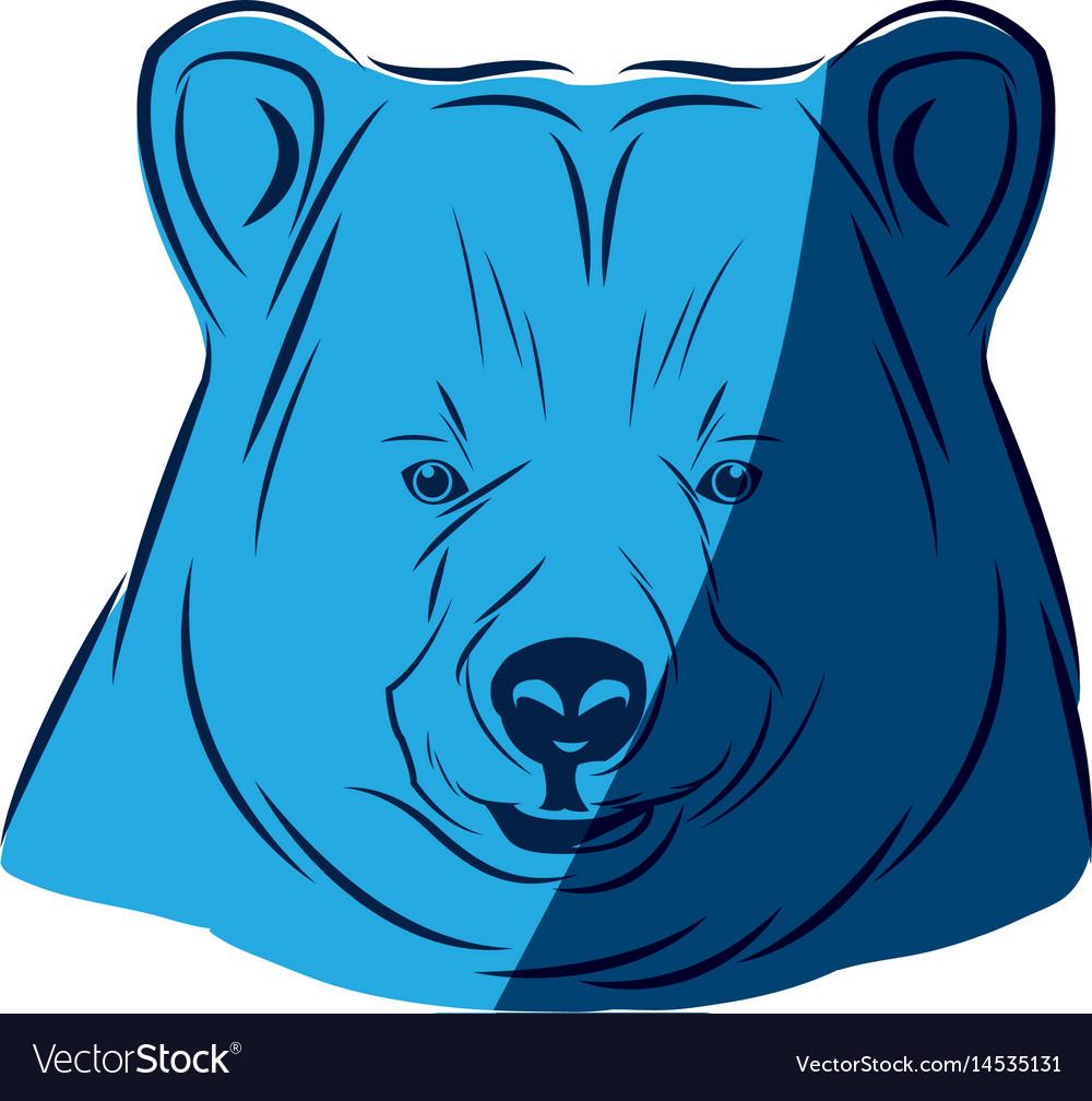 Blue head bear animal free spirit symbol vector image
