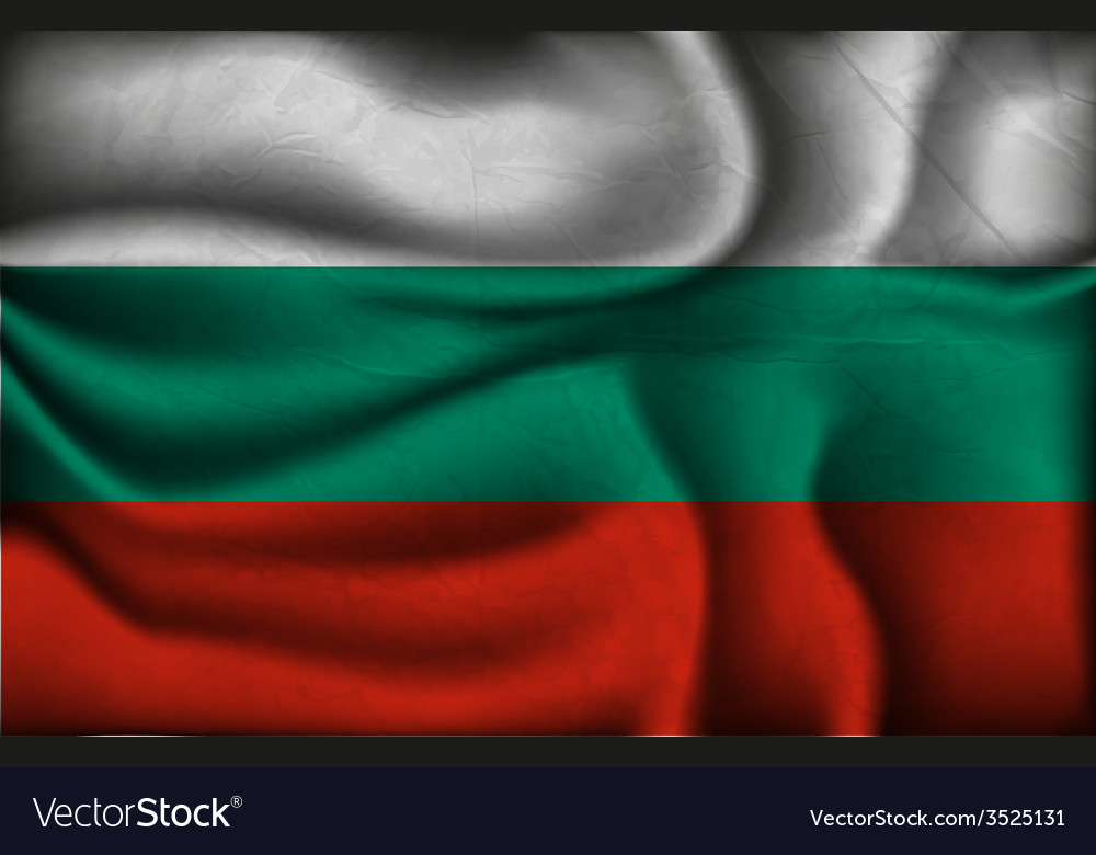 Crumpled flag of Bulgaria on a light background