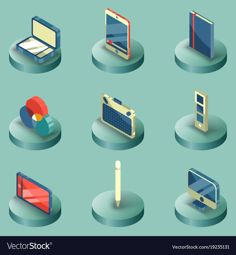 Design color isometric icons